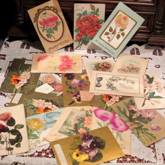 Lot of Antique and Vintage Floral Postcards