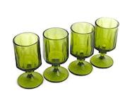 green pedestal water goblets, set of four