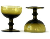 Vintage Hand Blown Colony PeeDee PD  Glass Dessert Bowls Olive Avocado Green