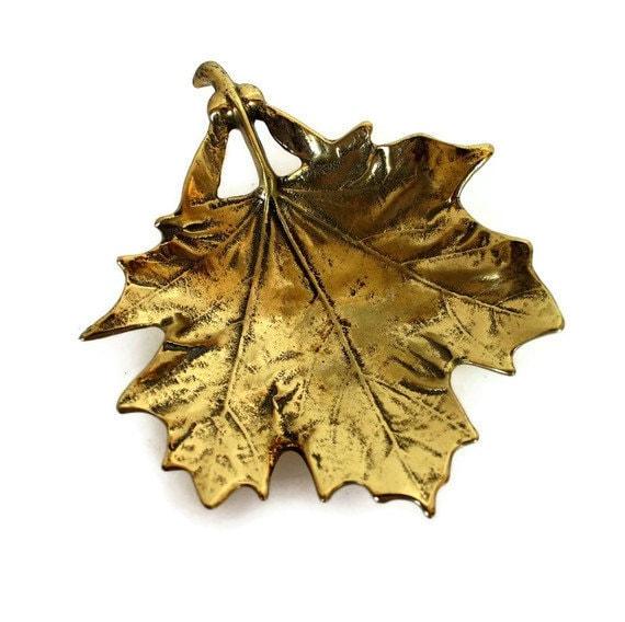 Virginia Metalcrafters Brass Leaf Dish, Maple Brass Leaf, Brass Dish
