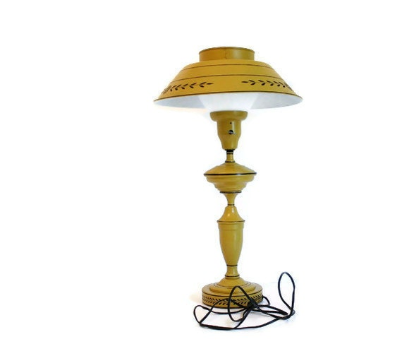 Vintage Tole Lamp With Milk Glass Shade