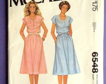 Shirtdress Shift loose dress housedress cap sleeves button front sewing pattern boho embroidery vintage 70s McCalls 6548 women size10