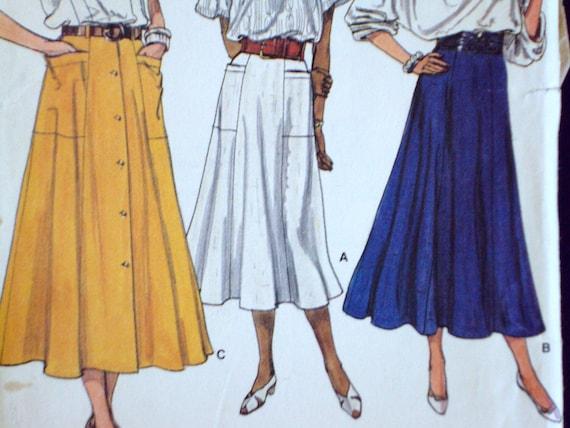 flared skirt - maxi skirt - long skirt - tea length skirt - Vogue 9225
