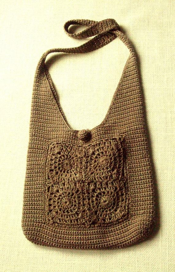 crocheted bag satchel - messenger bag - crossbody bag - Anthropologie style - natural - tan khaki