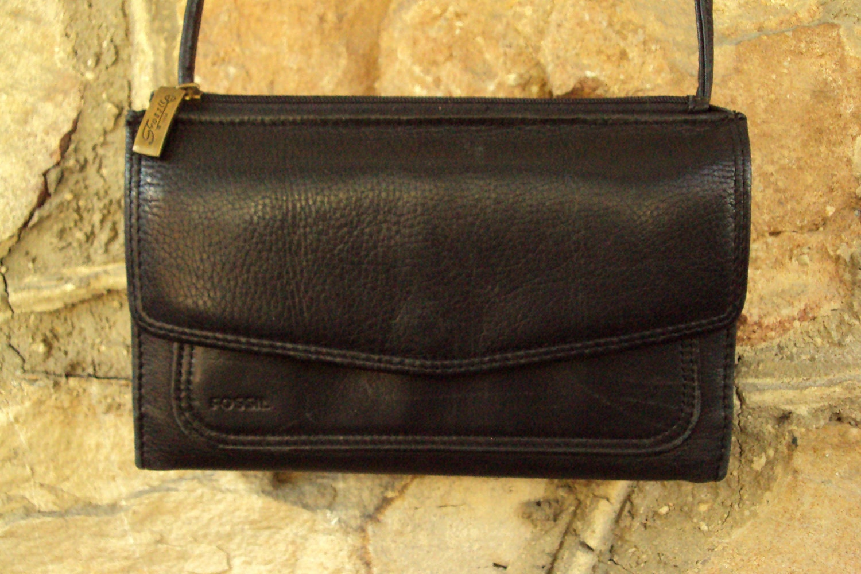 Crossbody Wallet Bag Fossil Black Leather Purse