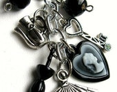 SALE Accessories Beaded Keychain - Black and silver keychain with Victorian-inspired charms - Charmed Life
