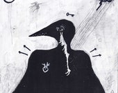 Crow - Original Painting - Black and White