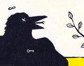 original crow painting - acrylic - black bird - raven - fine art -