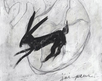 Rabbit and Heart - Black and White Hare - Original Painting
