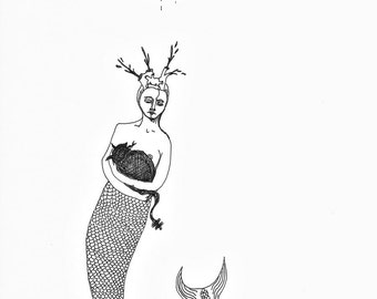 mermaid creature - original ink drawing - black and white