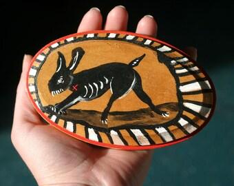 mean rabbit painting - original art - bad bunny - monster - small - sharp pointy teeth - gold
