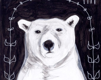 polar bear at night - black and white - original acrylic painting - small 6x6 square