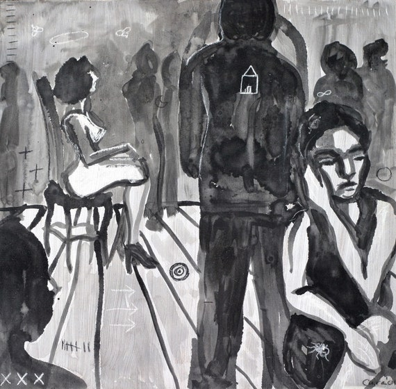 original black and white painting - party scene - square 12x12 - art