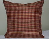 "Checked Pillow Cover in Red, Creme, and Black 12"" x 12"""
