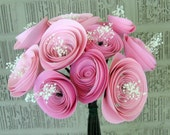 Pink paper roses bouquet for bride, bridesmaid, wedding, table centerpiece, birthday party or baby shower