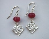 Ruby Jade and Fine Silver Flower Earrings