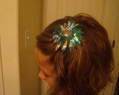 Lime and Lemon Daisy Hair Clip Recycled Soda Can Sprite