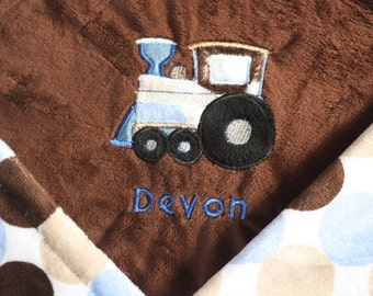 Choo Choo Train Applique added to any size minky blanket/pillowcase in my shop