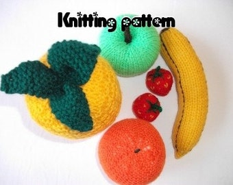 Knitting pattern toy fruit, play food, nursery food, knitted toy food, teaching resource, easy knitting pattern, play groceries.