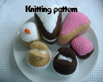 Knitting pattern slice, slab and butterfly cakes. UK seller