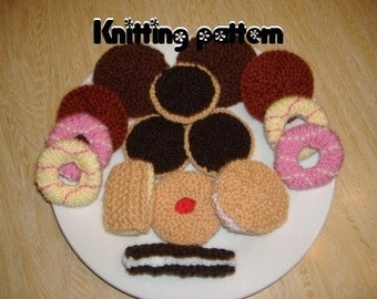 Biscuits and party rings knitting pattern. UK seller.