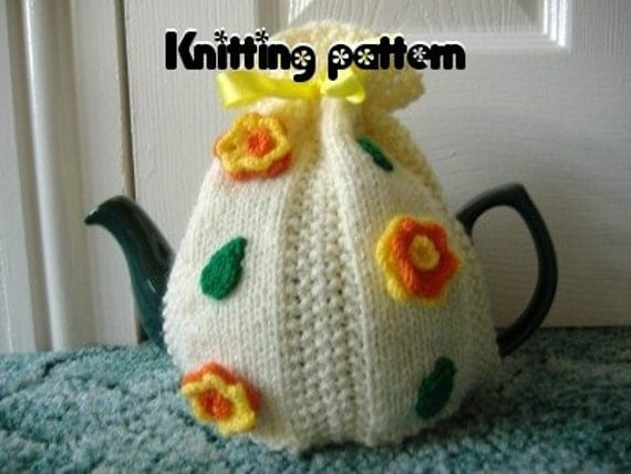 Knitting pattern Aran tea cosy with flowers and leaves. UK seller