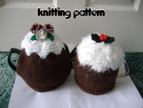 Christmas pudding tea cosies knitting pattern. UK seller