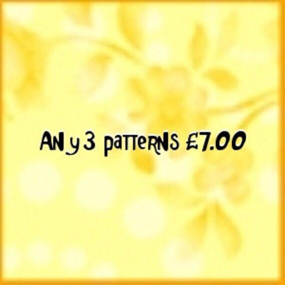 Pattern deal choose 3 patterns as a deal  PDF files UK seller.
