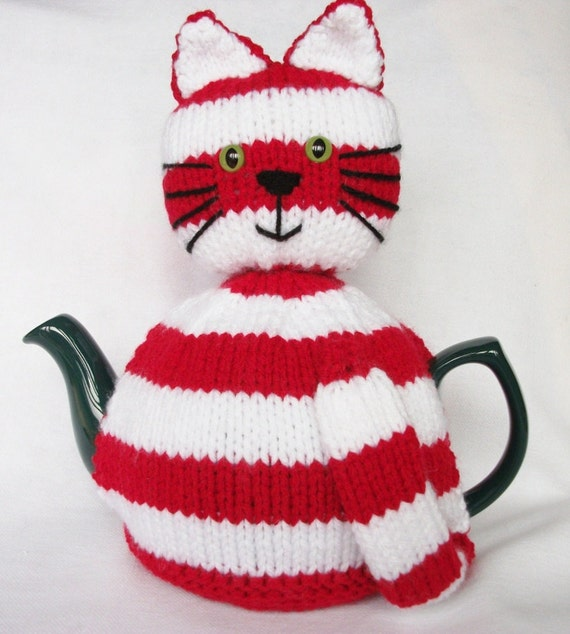 Cat tea cosy, cozy, red and white striped. UK seller.