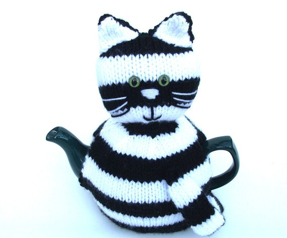 Cat Kitty tea cosy to fit a medium pot. Black and white striped