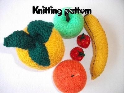 Knitting pattern toy fruit play food nursery food knitted