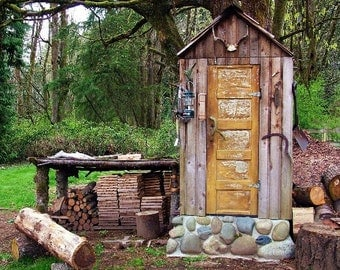 An  Outhouse photo, Seattle photo, A manly place to go...home decor, wall decor, man cave decor, man gift