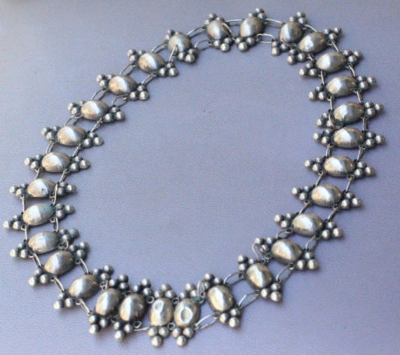 Vintage 1930's Mexican Modernist Sterling Belt Converted To Necklace