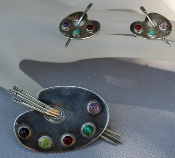 Vintage Taxco Mexican Sterling 980 Multi Stone Artist Pallet Brooch & Matching Earrings