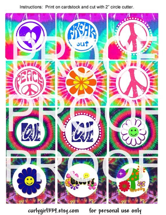 Tye Dye cupcake topper PDF Groovy Peace Sign-  2 inch circle, Retro birthday party DIY printables