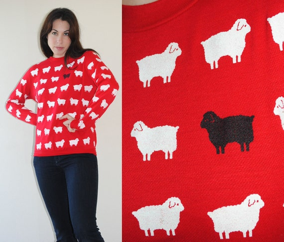 red sweatshirt black sheep white sheep novelty 80s comfy shirt