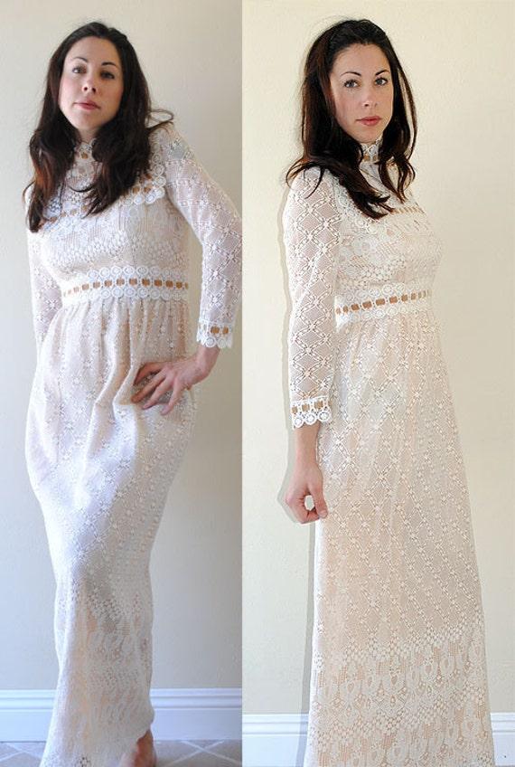 60s 70s dress white lace vintage maxi length scalloped hem and cuffs threaded velvet ribbon