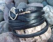 Black COOL Super Long Leather Bracelet/ Wristband  .Unisex. - BOVETTA