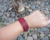 Burgundy Leather Bracelet.Cuff.Unisex .Women or Men.Adjustable