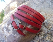 Red Wrap bracelet. Super Long Leather Bracelet/ Wristband  .Red.Unisex.