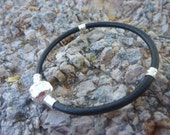 Black Silver Plated Leather Bracelet