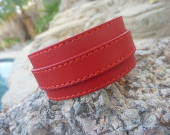 Leather Bracelet.Red Surf Strap Leather Bracelet.Women.Men.Unisex.