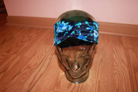 Velvet Blue Floral Turban Headband