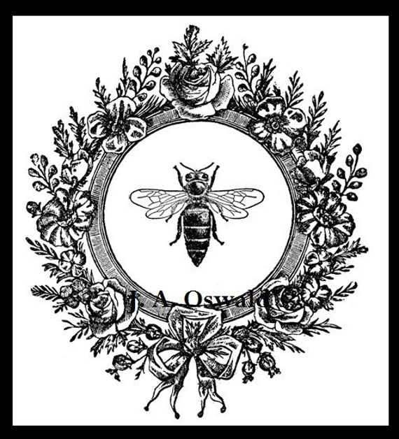 Bee In Flower Wreath Digital Image Download Sheet Iron On Transfers, Pillows, Tea Towels, and More