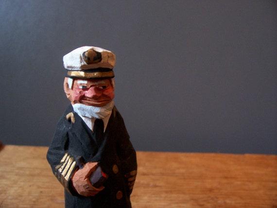 Sea captain carving wood sculpture vintage