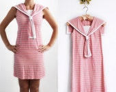 Vintage Pink and White Striped Sailor Dress