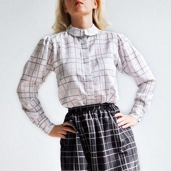 1970s 1980s black and white secretary blouse and skirt by atticism