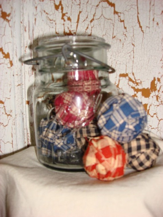 Ball jar with fabric balls  REDUCED & FREE SHIPPING