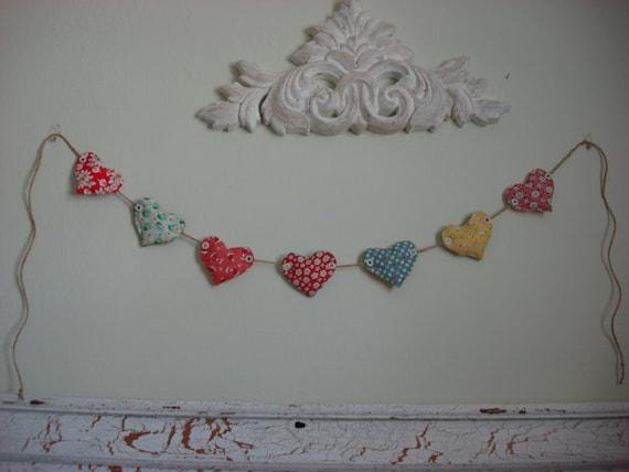 heart garland from 1930's replica fabrics
