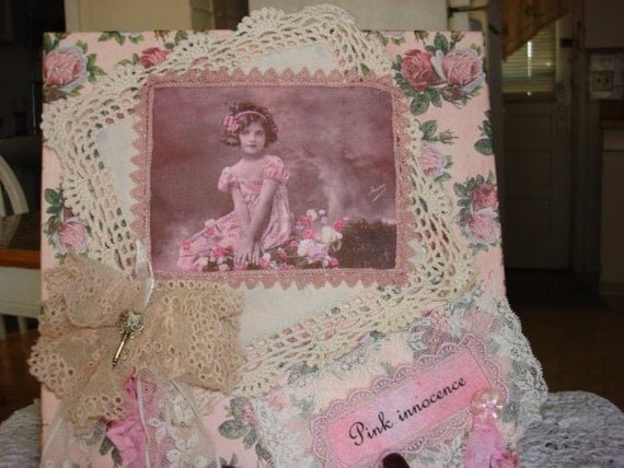 pink roses fabric art collage on canvas CLEARANCE 50% OFF